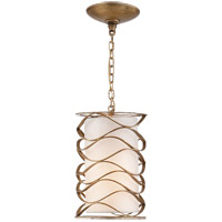 Visual Comfort Studio Bracelet 1 Light Pendant in Gilded Iron with Linen Shade S5045GI-L