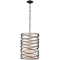 Visual Comfort Studio Bracelet 1 Light Pendant in Aged Iron with Linen Shade S5046AI-L