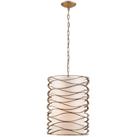 Visual Comfort Studio Bracelet 1 Light Pendant in Gilded Iron with Linen Shade S5046GI-L