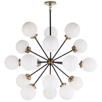 Visual Comfort Ian K. Fowler Bistro 18 Light 32-inch Pendant in Hand-Rubbed Antique Brass, Medium, Round, White Glass S5271HAB/BLK-WG