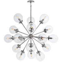 Ian K. Fowler Bistro 18 Light 32 inch Polished Nickel Pendant Ceiling Light, Ian K. Fowler, Medium, Round, Clear Glass