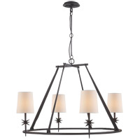 Visual Comfort Studio Etoile 4 Light Chandelier in Blackened Rust with Natural Paper Shade S5315BR-NP