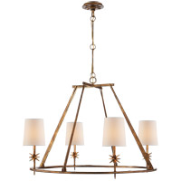 Visual Comfort Studio Etoile 4 Light Chandelier in Gilded Iron with Natural Paper Shade S5315GI-NP