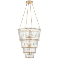 Visual Comfort S5657HAB-AM Carrier and Company Cadence 12 Light 31 inch Hand-Rubbed Antique Brass Waterfall Chandelier Ceiling Light, Large