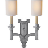Visual Comfort Studio Troy 2 Light Decorative Wall Light in Antique Silver SC2165AS-NP
