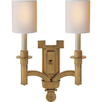 Visual Comfort Studio Troy 2 Light Decorative Wall Light in Hand-Rubbed Antique Brass SC2165HAB-NP