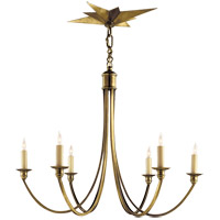 Eric Cohler Venetian 6 Light 25 inch Hand-Rubbed Antique Brass Chandelier Ceiling Light