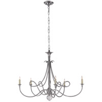 Visual Comfort Studio Twist 5 Light Chandelier in Antique Silver SC5005AS