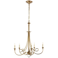 Visual Comfort SC5015HAB Eric Cohler Twist 5 Light 26 inch Hand-Rubbed Antique Brass Chandelier Ceiling Light