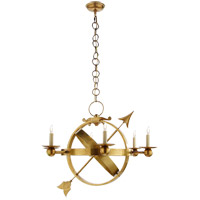 Eric Cohler Armillary 6 Light 35 inch Hand-Rubbed Antique Brass Chandelier Ceiling Light
