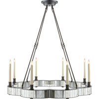 Visual Comfort Studio Claridge 8 Light Chandelier in Aged Iron with Wax SE5020AI