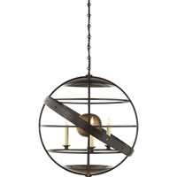 Visual Comfort Studio Fecioli 3 Light Pendant in Aged Iron with Wax SE5205AI
