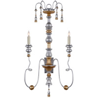 Visual Comfort Suzanne Kasler Michele 2 Light 36-inch Sconce in French Gild Silver and Gold, Suzanne Kasler SK2004FG