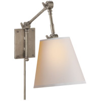 Visual Comfort Suzanne Kasler Graves 1 Light Pivoting Sconce in Antique Nickel with Natural Paper Shade SK2115AN-NP