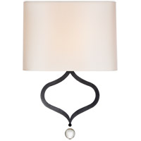 Visual Comfort SK2258AI-PL Suzanne Kasler Heart 1 Light 13 inch Aged Iron Sconce Wall Light, Suzanne Kasler, Natural Percale Shade