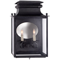 Suzanne Kasler Honore 2 Light 18 inch Blackened Copper Outdoor Sconce, Suzanne Kasler, Medium, 3/4, Clear Glass