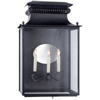 Suzanne Kasler Honore 3 Light 25 inch Blackened Copper Outdoor Sconce, Suzanne Kasler, Large, 3/4, Clear Glass