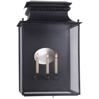 Suzanne Kasler Honore 3 Light 29 inch Blackened Copper Outdoor Sconce, Suzanne Kasler, Extra Large, 3/4, Clear Glass