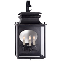 Suzanne Kasler Honore 3 Light 24 inch Blackened Copper Outdoor Wall Lantern, Suzanne Kasler, Medium, Bracketed, Clear Glass