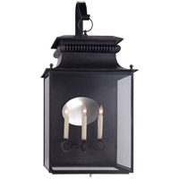 Visual Comfort Suzanne Kasler Honore 3 Light 33-inch Outdoor Wall Lantern in Blackened Copper, Large, Bracketed, Clear Glass SK2356BC