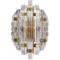 Visual Comfort SK2400HAB-CA Suzanne Kasler Adele 2 Light 9 inch Hand-Rubbed Antique Brass Sconce Wall Light, Suzanne Kasler, Crystal, Clear Acrylic Shade