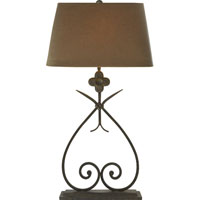 Suzanne Kasler Harper 30 inch 150 watt Natural Rusted Iron Decorative Table Lamp Portable Light in Tissue Silk