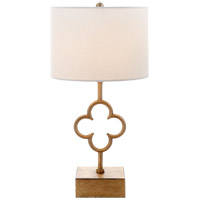 Suzanne Kasler Quatrefoil 19 inch 60 watt Gilded Iron Accent Table Lamp Portable Light, Suzanne Kasler, Linen Shade