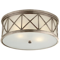 Visual Comfort Suzanne Kasler Montpelier 2 Light Flush Mount in Antique Nickel with Frosted Glass Shade SK4011AN-FG