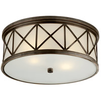 Visual Comfort Suzanne Kasler Montpelier 2 Light Flush Mount in Bronze with Frosted Glass Shade SK4011BZ-FG