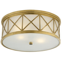 Visual Comfort SK4011HAB-FG Suzanne Kasler Montpelier 3 Light 16 inch Hand-Rubbed Antique Brass Flush Mount Ceiling Light