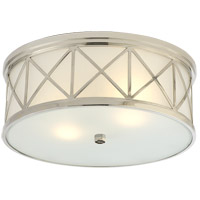 Visual Comfort Suzanne Kasler Montpelier 2 Light Flush Mount in Polished Nickel with Frosted Glass Shade SK4011PN-FG