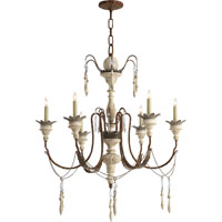 Visual Comfort Suzanne Kasler Percival 6 Light Chandelier in Natural Rust with Old White SK5000NR/OW