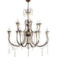 Visual Comfort Suzanne Kasler Percival 15 Light Chandelier in Natural Rust with Old White SK5001NR/OW