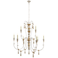 Visual Comfort Suzanne Kasler Michele 9 Light Chandelier in French Gild Silver and Gold SK5003FG