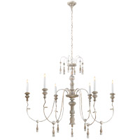 Suzanne Kasler Michele 6 Light 43 inch Belgian White Chandelier Ceiling Light, Suzanne Kasler, Medium