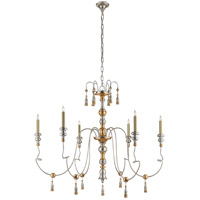 Visual Comfort Suzanne Kasler Michele 6 Light 43-inch Chandelier in French Gild Silver and Gold, Medium SK5004FG