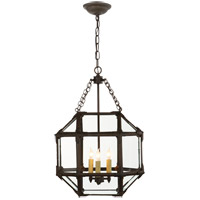 Visual Comfort SK5008AZ-CG Suzanne Kasler Morris 3 Light 14 inch Antique Zinc Foyer Pendant Ceiling Light in Clear Glass
