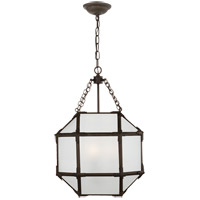 Visual Comfort SK5008AZ-FG Suzanne Kasler Morris 3 Light 14 inch Antique Zinc Foyer Pendant Ceiling Light in Frosted Glass