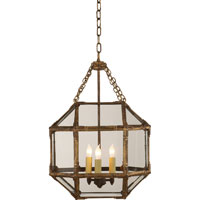 Visual Comfort SK5008GI-CG Suzanne Kasler Morris 3 Light 14 inch Gilded Iron with Wax Foyer Pendant Ceiling Light in Clear Glass