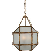 Suzanne Kasler Morris 3 Light 14 inch Gilded Iron with Wax Foyer Pendant Ceiling Light in Frosted Glass