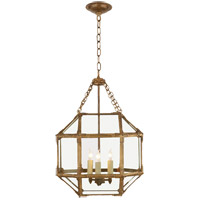 Visual Comfort SK5008GI-CG Suzanne Kasler Morris 3 Light 14 inch Gilded Iron Foyer Pendant Ceiling Light in Clear Glass