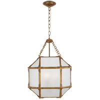 Visual Comfort SK5008GI-FG Suzanne Kasler Morris 3 Light 14 inch Gilded Iron Foyer Pendant Ceiling Light in Frosted Glass