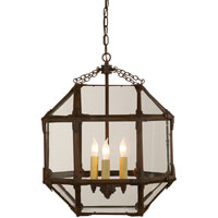 Visual Comfort SK5009AZ-CG Suzanne Kasler Morris 3 Light 19 inch Antique Zinc Foyer Pendant Ceiling Light in Clear Glass