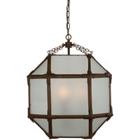 Suzanne Kasler Morris 3 Light 19 inch Antique Zinc Foyer Pendant Ceiling Light in Frosted Glass