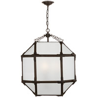 Visual Comfort SK5009AZ-FG Suzanne Kasler Morris 3 Light 19 inch Antique Zinc Foyer Pendant Ceiling Light in Frosted Glass