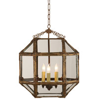 Visual Comfort SK5009GI-CG Suzanne Kasler Morris 3 Light 19 inch Gilded Iron with Wax Foyer Pendant Ceiling Light in Clear Glass