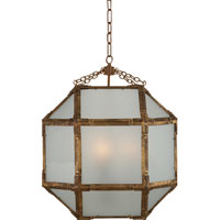 Visual Comfort SK5009GI-FG Suzanne Kasler Morris 3 Light 19 inch Gilded Iron with Wax Foyer Pendant Ceiling Light in Frosted Glass