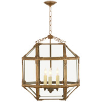 Visual Comfort SK5009GI-CG Suzanne Kasler Morris 3 Light 19 inch Gilded Iron Foyer Pendant Ceiling Light in Clear Glass