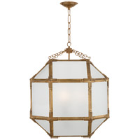 Visual Comfort SK5009GI-FG Suzanne Kasler Morris 3 Light 19 inch Gilded Iron Foyer Pendant Ceiling Light in Frosted Glass
