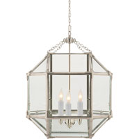 Visual Comfort Suzanne Kasler Morris 3 Light Ceiling Lantern in Polished Nickel SK5009PN-CG
